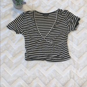 NWOT See you Monday striped cropped top